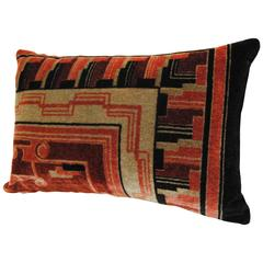 Hand-Blocked Mohair Amsterdam School Pillow, Art Deco Textile, circa 1920