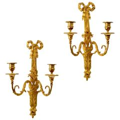 Pair of Louis XVI Gilt Bronze Wall Appliqués