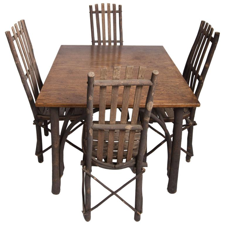 Tables Chairs For Sale: Antique Adirondack Old Hickory Table And Chairs For Sale