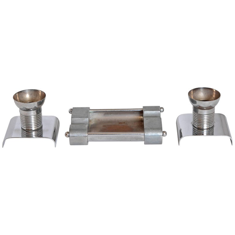 Machine Age Art Deco Alfons Bach Studio Cigar Ashtray and Candlesticks Signed For Sale
