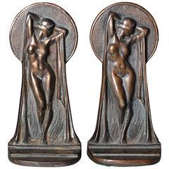 Art Deco Bronze Nude Bookends