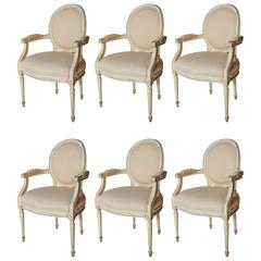 Set of Six Painted Louis XVI-Style Dining Arm Chairs