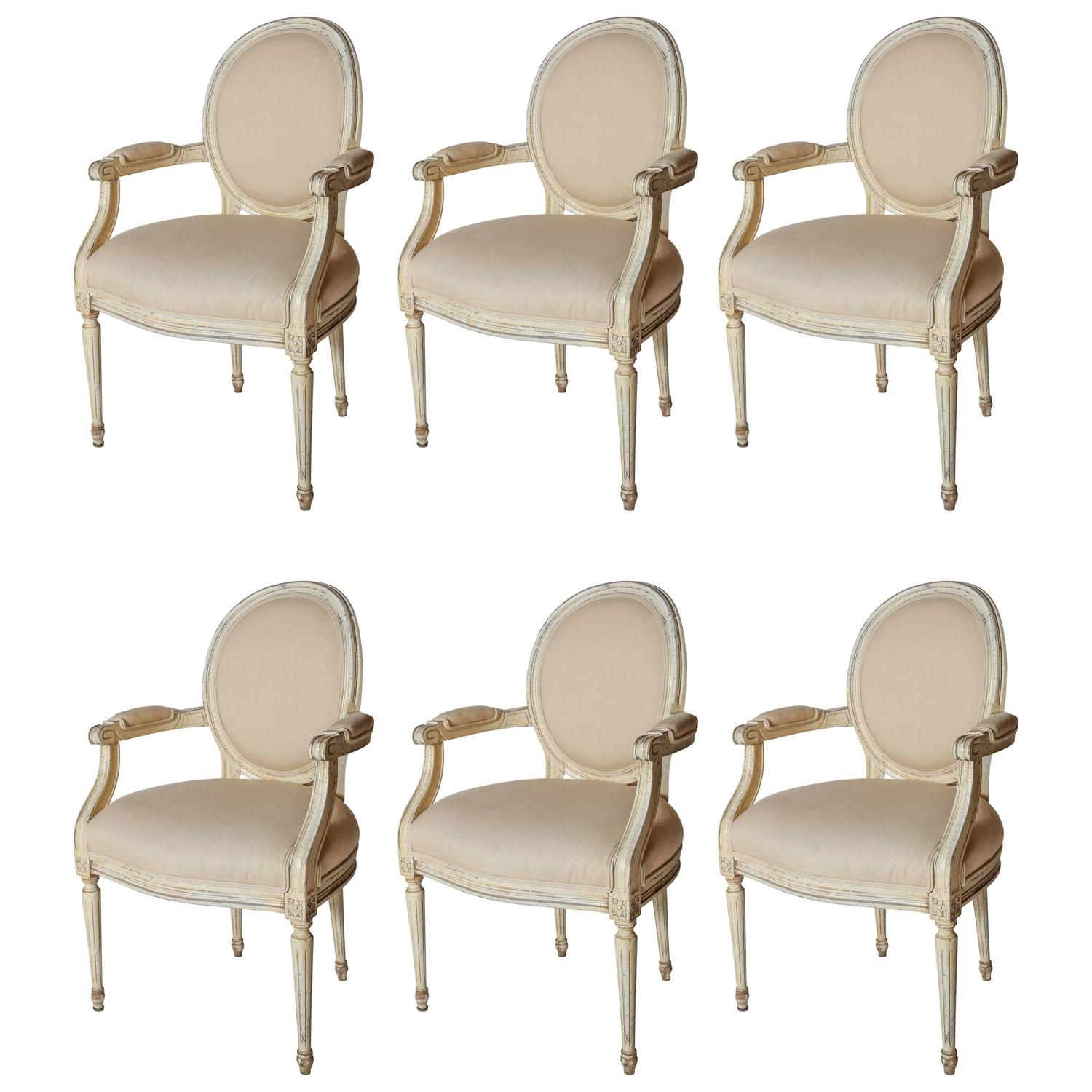 Dining Room Chairs With Arms For Sale: Set Of Six Painted Louis XVI-Style Dining Arm Chairs For