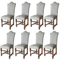 Eight Venetian Shape Back Dining Chairs with Turned legs