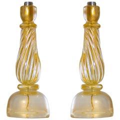 Italian Massive Pair of Table Lamps in Murano Glass, Gold 24-Karat