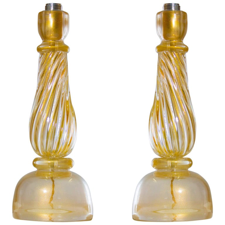 Italian Massive Pair of Table Lamps in Murano Glass, Gold 24-Karat For Sale