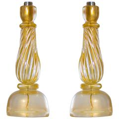 Italian Venetian Massive Pair Table Lamps Blown Murano Glass, Gold 24-Karat