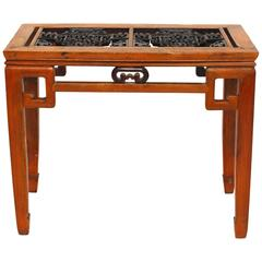 Chinese Carved Greek Key Table