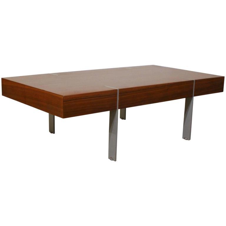 Metal Coffee Table Legs Vancouver: Vintage Danish Walnut And Metal Coffee Table At 1stdibs