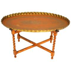 Oval Moroccan Brass Tray Table