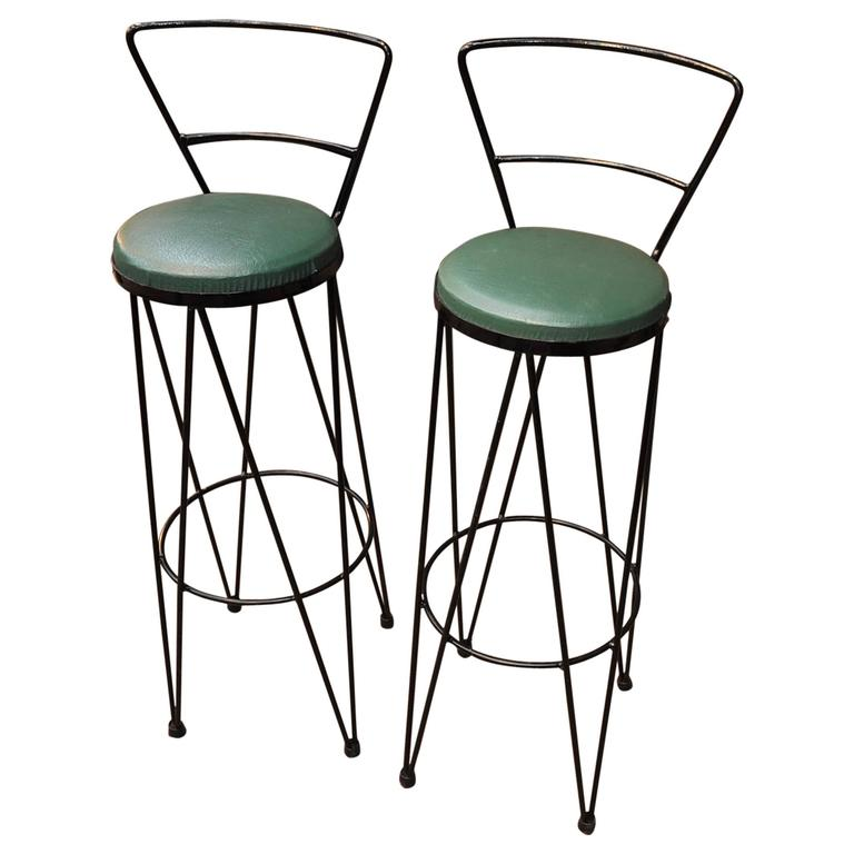 Pair Of Vintage Design Iron Stools At 1stdibs