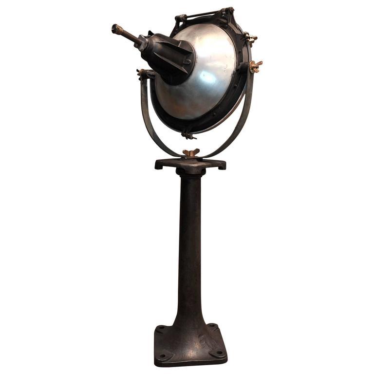 mazda paris industrial spotlight on cast iron base 1930s. Black Bedroom Furniture Sets. Home Design Ideas