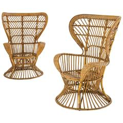 "Lio Carminati, Pair of Armchairs ""D'India Canna"", Production Casa e Giardino"