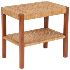 French Walnut and Woven Rush Two-Tier Table