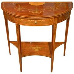 Mahogany Inlaid Edwardian Period Demilune Side Table