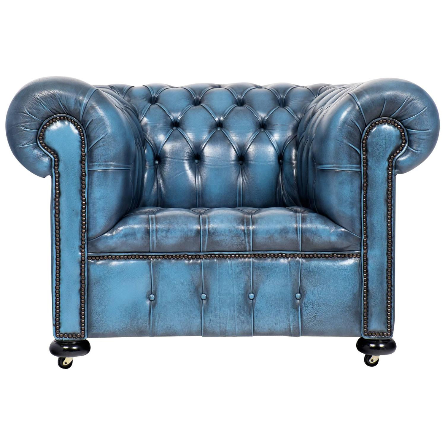 Vintage Steel Blue Leather Chesterfield Club Chair At 1stdibs