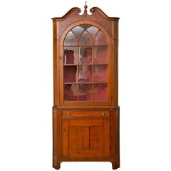 19th Century Pennsylvania Hepplewhite Cherry Corner Cupboard
