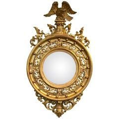 Early 19th Century Gilt-Gesso and Wood Convex Mirror