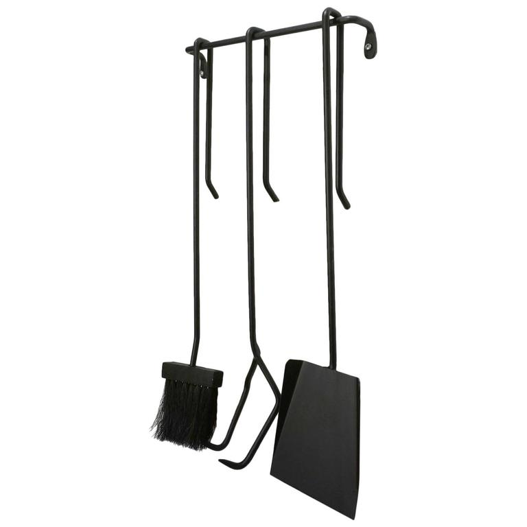 Midcentury Japanese Iron Wall Hung Fire Tools