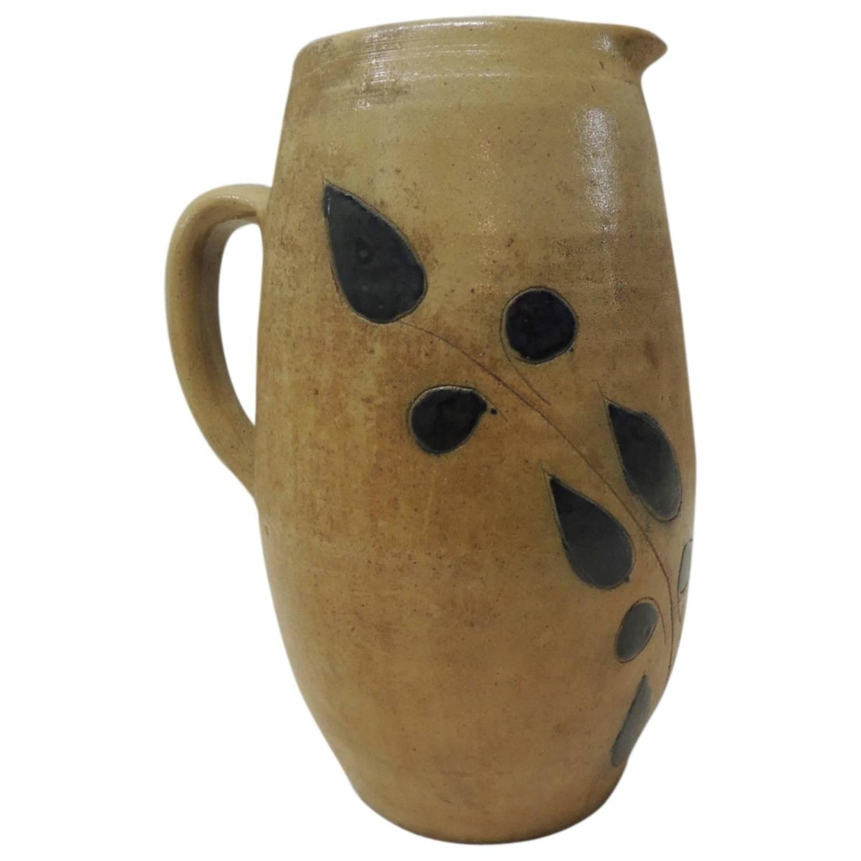 Vintage Glazed Stoneware Water Pitcher At 1stdibs