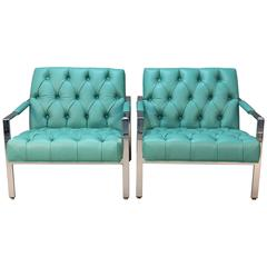 Pair of Milo Baughman for Thayer Coggin Chrome and Tufted Chairs