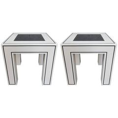 Pair of ivory and Black Lacquered Tables, Italy, 1970