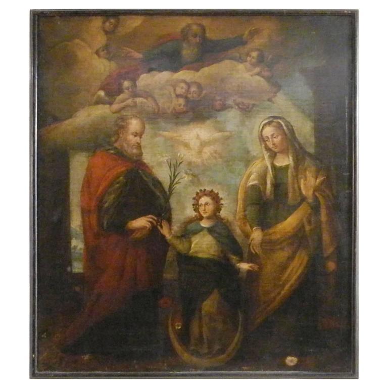 Antique 17th Century Religious Italian Painting