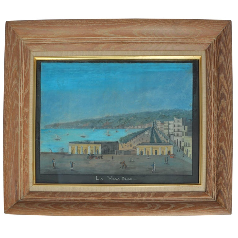 "19th Century Watercoloring of Naples, ""La Villa Reale"" For Sale"