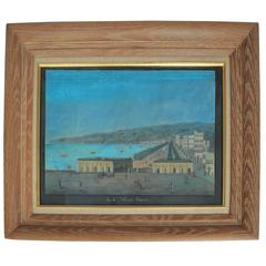 """19th Century Watercoloring of Naples, """"La Villa Reale"""""""