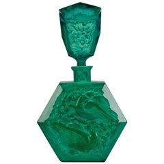 Curt Schlevogt Malachite Glass Ingrid Love Bird Perfume Bottle