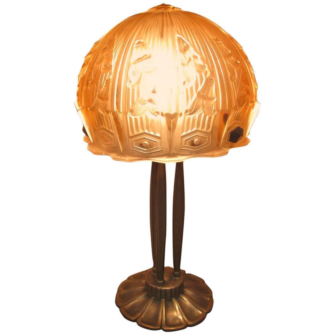 lamp art deco etched glass for sale at 1stdibs. Black Bedroom Furniture Sets. Home Design Ideas