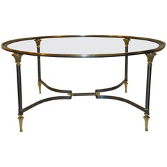 Neoclassical Coffee Table Italian Glass Insert Bronze and Brushed Steel  1950s