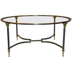 Neoclassic Italian Glass Insert Cast Bronze and Brushed Steel Coffee Table 1950s