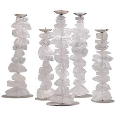 Group of Five Natural Rock Crystal Stone Candlesticks