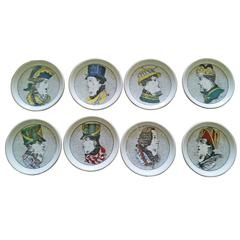 Vintage Set of Piero Fornasetti Optical Illusion Face Coasters and Box