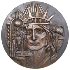 Very Stylized Cast Bronze WPA Wall Plaque Immigration Theme