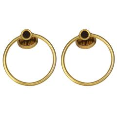 Vintage Sherle Wagner 22-Karat Gold Pair of Tiger Eye Towel Bath Rings