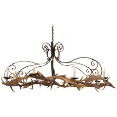 Large Oval Shaped Italian Wrought Iron and Daino Antler 8-Light Chandelier, UL