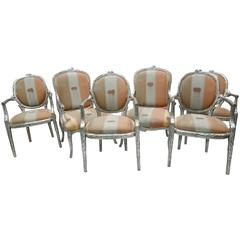 Set of Six Silver Leaf 1980s Vintage Faux Bois Twig Dining Chairs