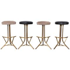 Set of Four Brass Barstools by John Stewart