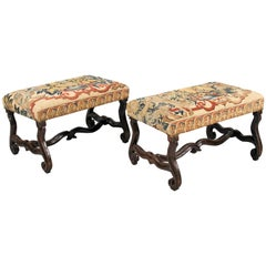 William III Walnut Stools with Os De Mouton legs and conforming Stretcher