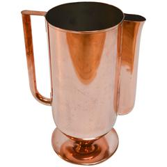 1930s Art Deco Copper Water Pitcher with Silvered Tin Lining
