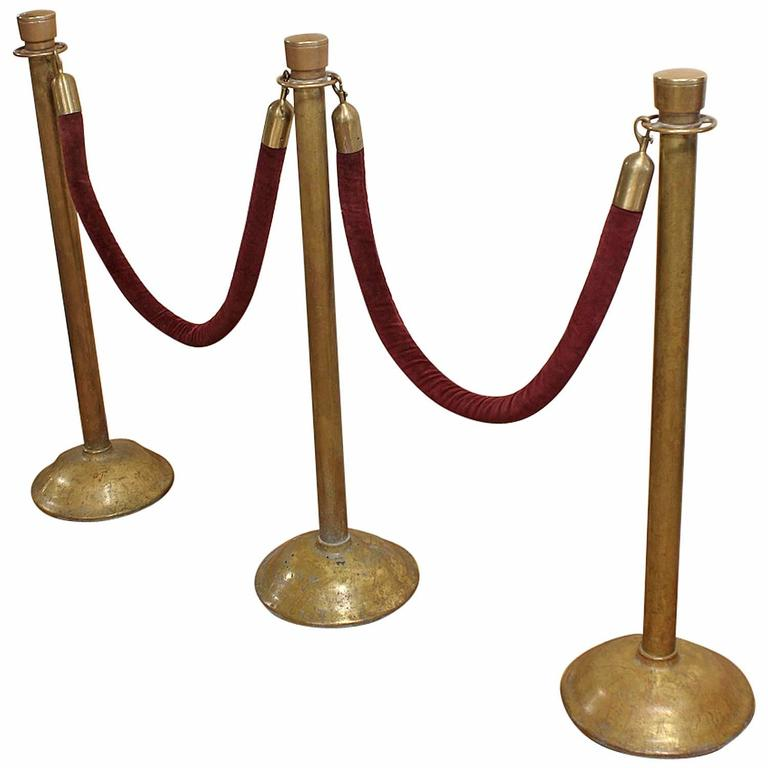 Antique American Theater Brass Stanchions At 1stdibs