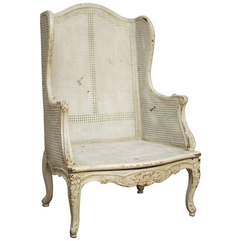Beau Louis XV Cane Wingback Bergere Chair For Sale