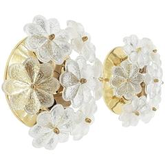 Set of Four Glass Flower Sconces by Ernst Palme