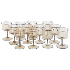 Set of 12 Wine Glasses by MVM Cappellin, Murano