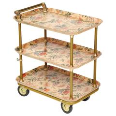 French Flowered Fiberglass and Brass Serving Cart