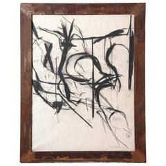 David Hacker Charcoal Drawing in Steel Frame Sculpted by Artist