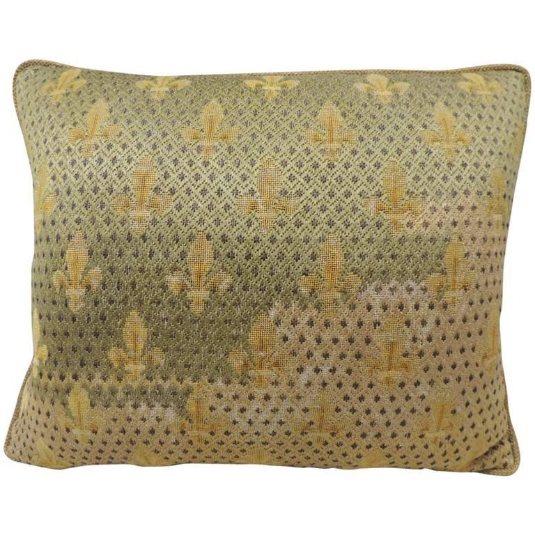 19th Century Fleur de Lis Embroidery Tapestry Decorative Pillow For Sale