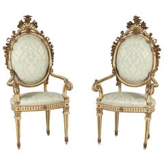 Pair of 18th Century Neoclassical Carved and Lacquered Armchairs
